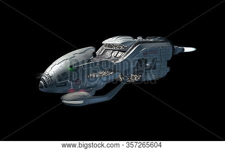 3d Interstellar Military Drone With Afterburner Propulsion Jets For Futuristic Deep Space Travel Or