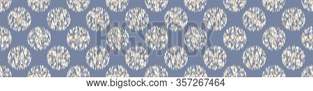 French Shabby Chic Stylized Dotty Vector Texture Border Background. Linen Blue Polka Dot Glitch Seam