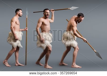 Collage Of Shirtless Caveman With Spear On Grey, Evolution Concept