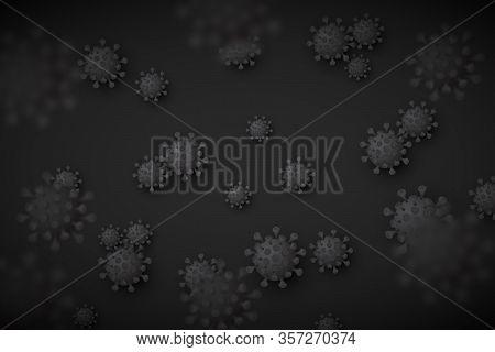 Perspective Blurred Black Background With Multiple Virus Particles, An Abstract Vector For Pandemic,