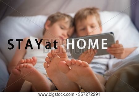 Stay At Home Concept. Education Online. Home Schooling. Indoor Activity While Quarantine. Coronaviru