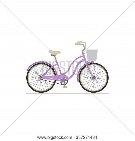 Flat Isolated Icon Of A Female Cruiser Bike With A Basket On A White Background.