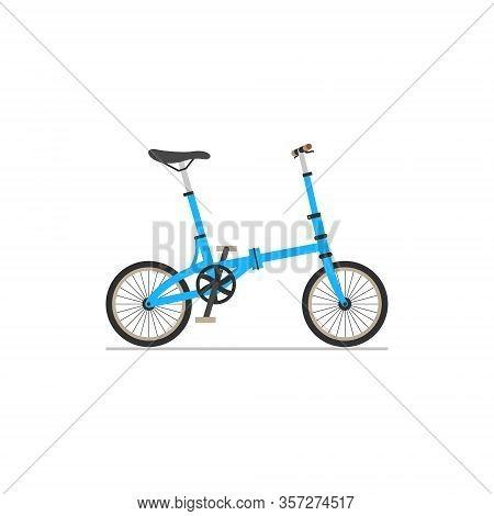 Folding Compact Bike. Flat Isolated Icon On White Background.