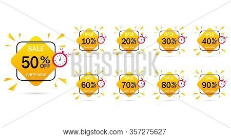 Sale Discount Set Emblem, Great Design For Any Purposes.save Money-buy Now.10, 20, 30, 40, 50, 60, 7