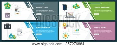 Web Banners Concept In Vector With Investment Data, Financial Management, Contract Signature And Fin