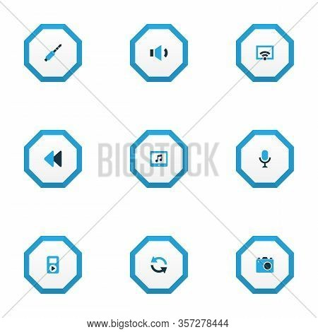 Multimedia Icons Colored Set With Megaphone, Jack, Sync And Other Camera Elements. Isolated Vector I
