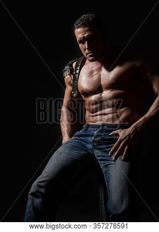 Torso Concept. Sexy Naked Torso. Torso With Six Pack And Ab Muscle. Leather Belt, Jeans. Muscular To