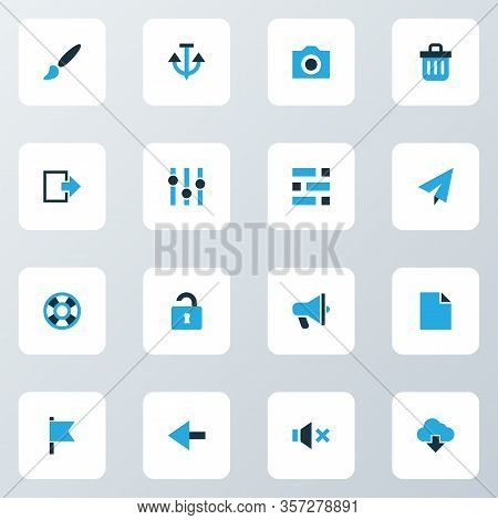 Interface Icons Colored Set With Exit, File, Back And Other Lifebuoy Elements. Isolated Vector Illus