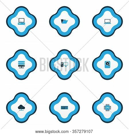 Hardware Icons Colored Set With Server, Pc, Online Cloud And Other File Elements. Isolated Vector Il