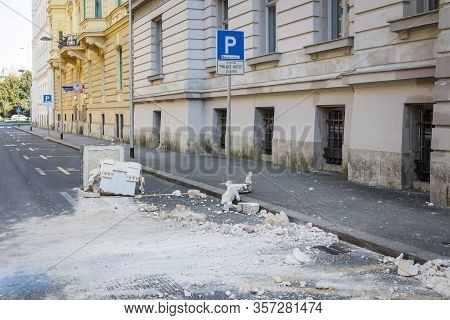 Zagreb, Croatia - March 22, 2020 :capital Of Croatia, Zagreb Has Been Hit By The Magnitude Of The Ea