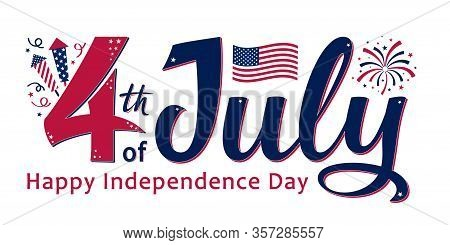 4th Of July, United Stated Independence Day. Template Design For Poster, Banner, Postcard, Flyer, Gr