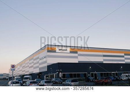 Brandizzo, Italy - March 2020: Amazon Establishment In Piedmont. American Multinational Technology C
