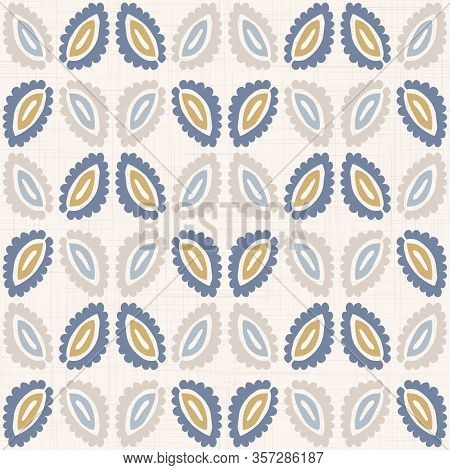 French Blu Shabby Chic Leaf Damask Vector Texture Background. Antique White Yellow Blue Seamless Pat