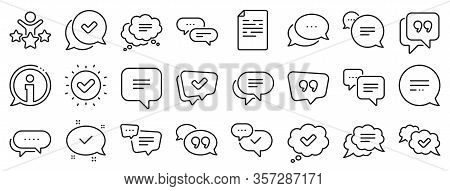 Approved, Checkmark Box And Social Media Message. Chat And Quote Line Icons. Chat Speech Bubble, Tic