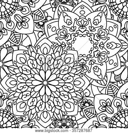 Mandala Ethnic Seamless Pattern. Adult Coloring Page. Black And White Repeat Pattern Background. Vec