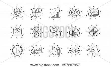 Blockchain, Crypto Ico And Bitcoin. Cryptocurrency Line Icons. Mining Linear Icon Set. Geometric Ele