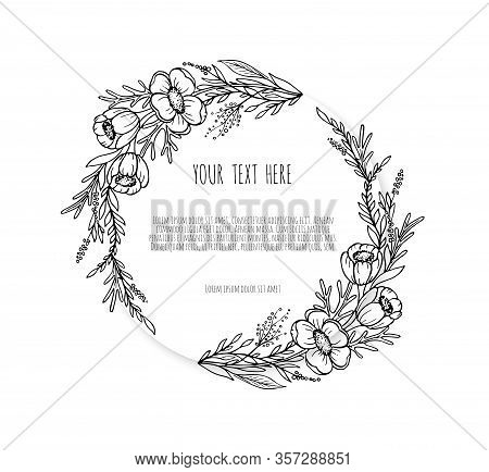 Hand Drawn Floristic Frame Border With Flowers, Branches, Plants. Decorative Outlined Vector Illustr