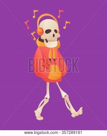 Funny Cartoon Skeleton Listened Music In Headphone. Vector Bony Character. Human Bones Illustration