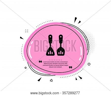 Cooking Cutlery Icon. Quote Speech Bubble. Kitchen Accessories Sign. Food Preparation Symbol. Quotat