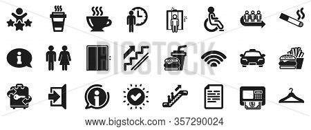 Elevator, Cloakroom And Taxi Icons. Public Services, Wifi Icons. Exit, Atm And Escalator. Wifi, Lift