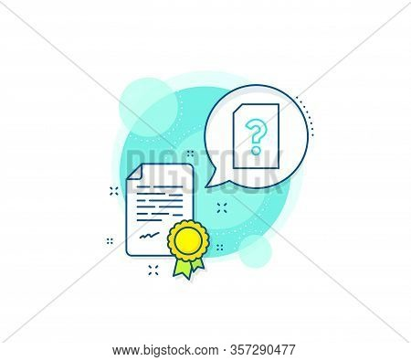 File With Question Mark Sign. Certification Complex Icon. Unknown Document Line Icon. Untitled Paper
