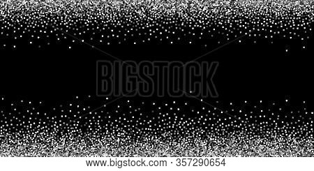 Silver Glitter Luxury Sparkling Confetti. Scattered Small Gold Particles On Black Background. Artist