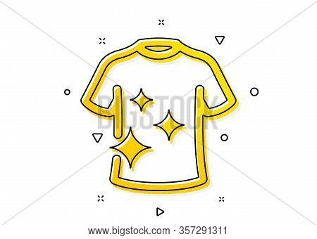 Laundry Shirt Sign. Clean T-shirt Icon. Clothing Cleaner Symbol. Yellow Circles Pattern. Classic Cle
