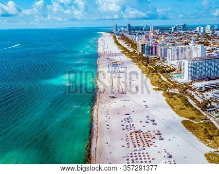 Miami Beach Florida, Aerial View Miami Beach , Drone View At Sout Beach Miami