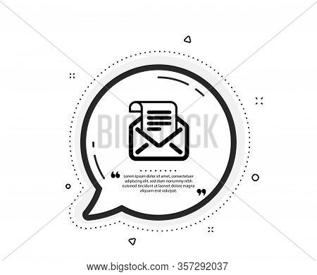 Mail Newsletter Icon. Quote Speech Bubble. Read Message Correspondence Sign. E-mail Symbol. Quotatio