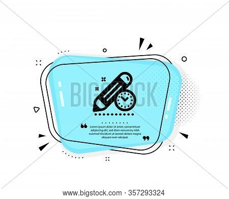 Project Deadline Icon. Quote Speech Bubble. Time Management Sign. Clock Symbol. Quotation Marks. Cla