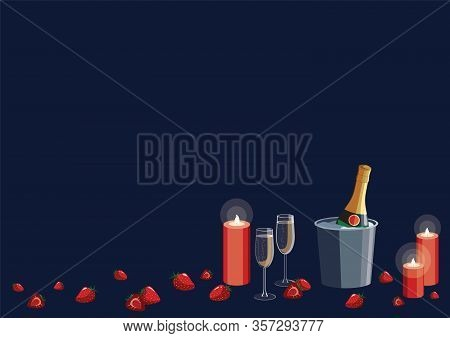 Romantic New Year Valentines Day Proposal Date Vector Illustration With Champagne Glasses, Candles A