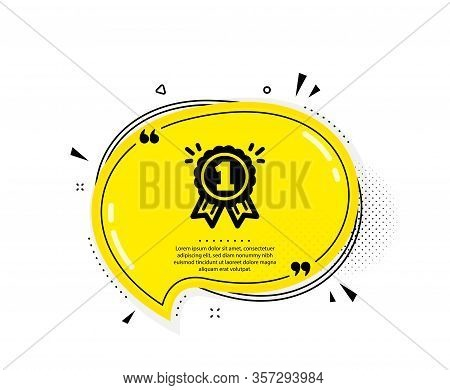 Reward Medal Icon. Quote Speech Bubble. Winner Achievement Or Award Symbol. Glory Or Honor Sign. Quo
