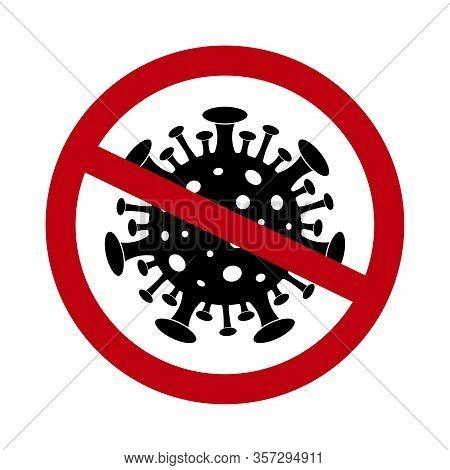 Stop Coronavirus Icon. Sign Of Forbidden Virus. Black Viral Microbe In Red Circle. Quarantine, Antiv