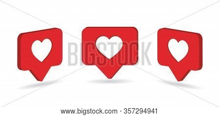 Social Media Heart Icon. Isometric Comment Like For Blog. Flat Heart Shape For Feedback Message In P
