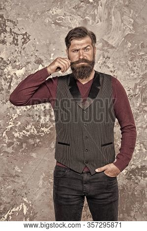 Barbershop Concept. Beauty Industry. Facial Hair Care. Mature Man Bearded Hipster With Long Beard An