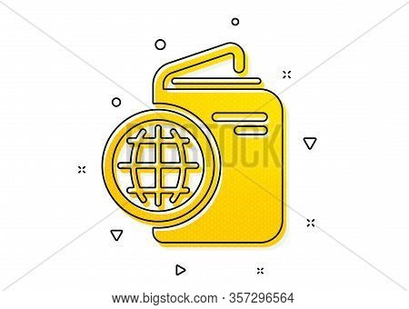 Trip Id Document Cover Sign. Travel Passport Icon. Abroad Holidays Symbol. Yellow Circles Pattern. C