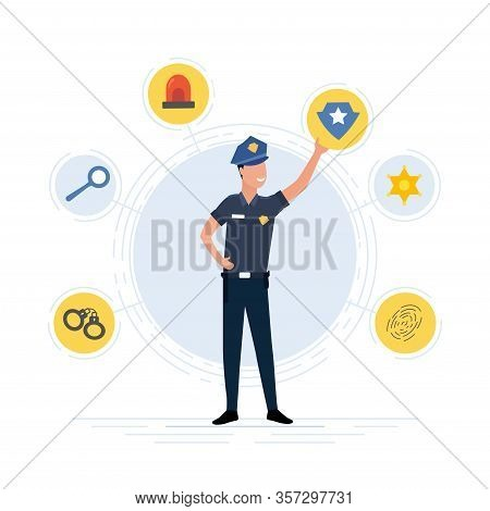 Police Officer In Uniform Surrounded By A Circle Of Law Enforcement Icons Showing Handcuffs, Search,