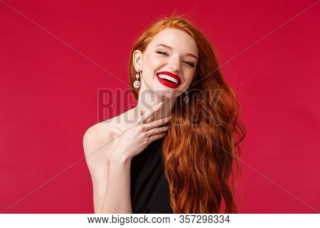 Makeup, Beauty And Women Concept. Close-up Portrait Of Feminine Beautiful Redhead Woman In Black Dre