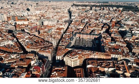 Aerial View Of Plaza Mayor In Madrid,spain. Plaza Mayor Is A Central Plaza In The City Of Madrid. Be