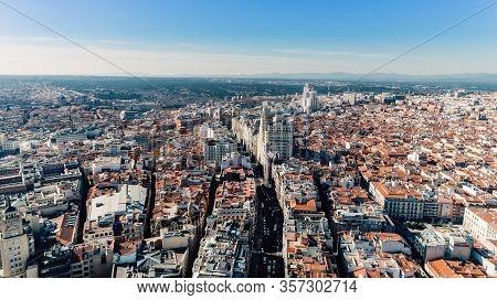 Aerial View Of Calle Gran Via.panoramic Aerial View Of Gran Via, Main Shopping Street In Madrid, Cap