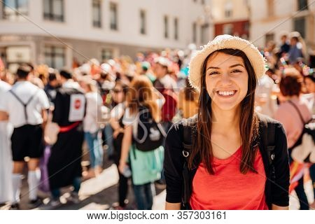 Cheerful Tourist Visiting To The Public Celebration,attending Carnival.carnival Season.crowd In Cost