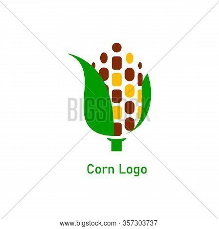 Corncob Logo Design. Yellow Corn Seed And Green Leaf Isolated On White Background. Vector Organic Gr
