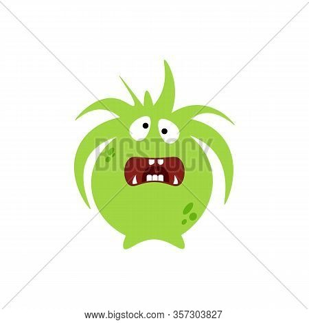 Cartoon Flat Confused Monsters Green Icon. Colorful Kids Toy Cute Monster. Vector Illustration
