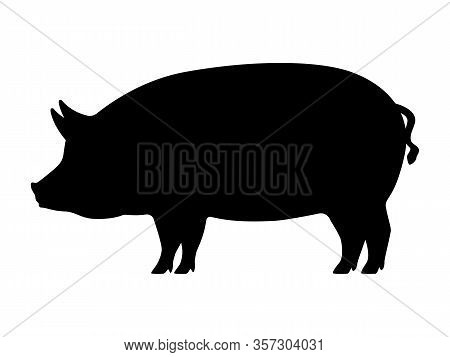Pig Silhouette. Vector Illustration Of Black Icon Logo Pig Silhouette Isolated On White. Outline Sha