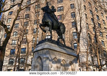 New York City - Feb 17, 2020: Joan Of Arc Memorial In Riverside Park, Manhattan, New York. The Bronz