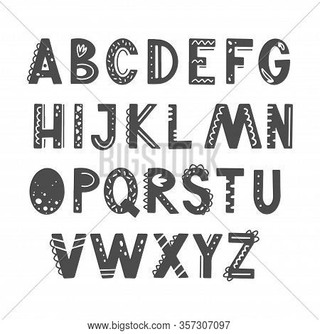 Funny Kids Alphabet With Hand Drawn Elements In Scandinavian Style For Poster, Kids Nursery, Font, L