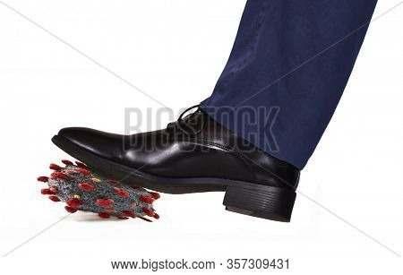 Crushing the virus with the shoe on white background.