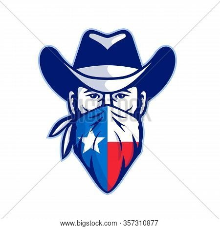 Mascot Icon Illustration Of Head Of Texan Bandit, Outlaw Or Highwayman Wearing Cowboy Hat And Bandan