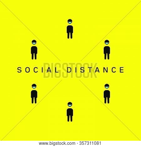 Social Distancing, Keep Distance In Public Society People To Protect From Covid-19 Corona Virus Outb