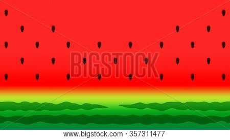 Watermelon Slice Background With Seed And Skin Texture, Red Watermelon Fresh For Backgrounds Fruit J